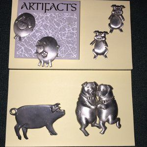 PIGS - two pair Earrings and two brooches pins